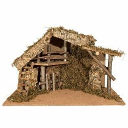 Picture of Stable cm 19 (7,5 Inch) Fontanini Nativity Village in Wood, Cork, Moss - handmade