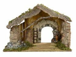Immagine di Capanna cm 19 (7,5 Inch) Villaggio Presepe Fontanini in Legno, Sughero, Muschio fatta a mano