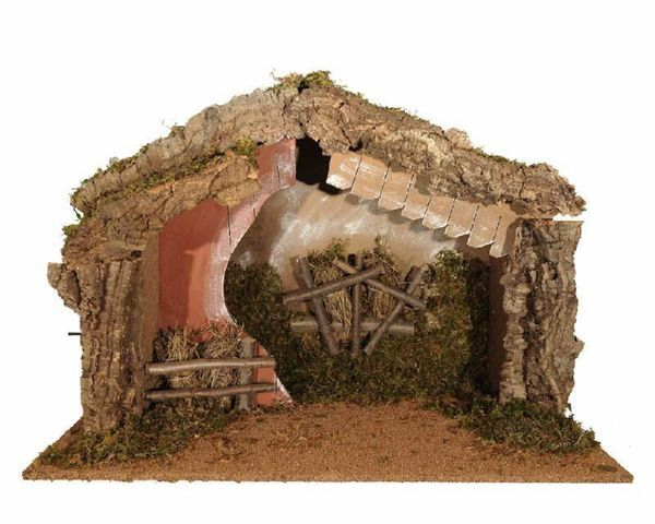 Immagine di Capanna cm 30 (12 Inch) Villaggio Presepe Fontanini in Legno, Sughero, Muschio fatta a mano