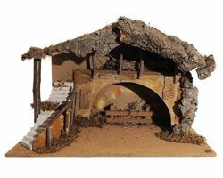 Imagen de Cabaña cm 30 (12 Inch) Pueblo Belén Fontanini en Madera, Corcho, Musgo hecha a mano