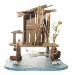 Picture of Fisherman's House cm 12 (5 Inch) Fontanini Nativity Village in Wood, Cork, Moss - handmade
