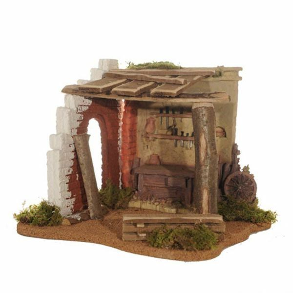 Picture of Carpentry cm 12 (5 Inch) Fontanini Nativity Village in Wood, Cork, Moss - handmade