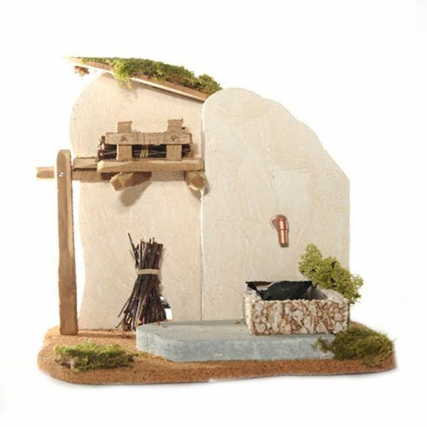 Picture of Fountain with Fire and Light cm 12 (5 Inch) Fontanini Nativity Village in Wood, Cork, Moss - handmade