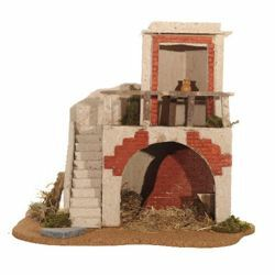 Picture of House with Barn cm 12 (5 Inch) Fontanini Nativity Village in Wood, Cork, Moss - handmade