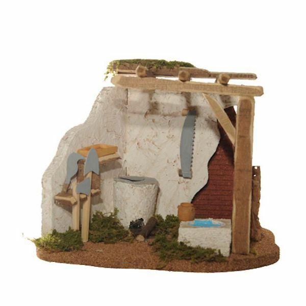 Picture of Blacksmith's Shop cm 12 (5 Inch) Fontanini Nativity Village in Wood, Cork, Moss - handmade