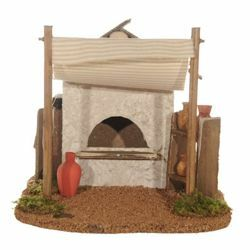 Picture of Potter Tent cm 12 (5 Inch) Fontanini Nativity Village in Wood, Cork, Moss - handmade