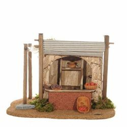 Picture of Fruit Shop cm 12 (5 Inch) Fontanini Nativity Village in Wood, Cork, Moss - handmade