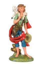 Picture of Shepherd with Sheep cm 30 (12 Inch) CLASSIC Fontanini Nativity Statue Traditional Colors Plastic