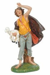 Imagen de Pastor con Oveja CLASSIC cm 30 (12 Inch) Belén Fontanini Estatua en Plástico Colores Tradicionales