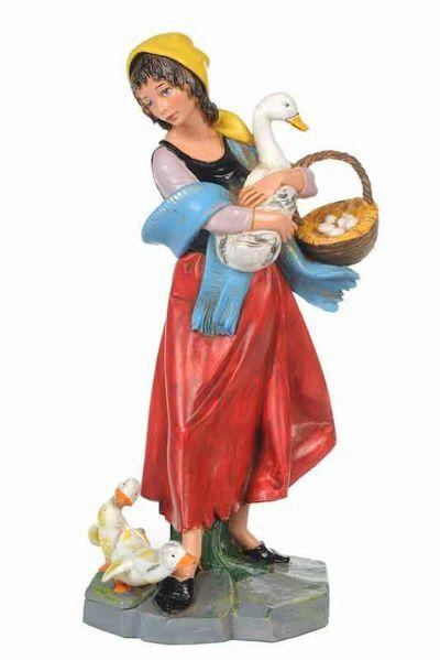 Immagine di Pastorella con Oche CLASSIC cm 30 (12 Inch) Presepe Fontanini Statua in Plastica Colori Tradizionali