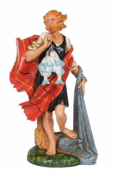 Imagen de Pastor con Peces CLASSIC cm 30 (12 Inch) Belén Fontanini Estatua en Plástico Colores Tradicionales