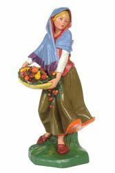 Picture of Shepherdess with Fruit cm 30 (12 Inch) CLASSIC Fontanini Nativity Statue Traditional Colors Plastic