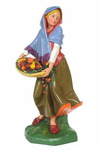 Imagen de Pastora con Fruta CLASSIC cm 30 (12 Inch) Belén Fontanini Estatua en Plástico Colores Tradicionales