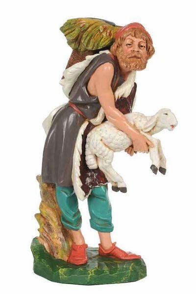 Imagen de Pastor con Cesta CLASSIC cm 30 (12 Inch) Belén Fontanini Estatua en Plástico Colores Tradicionales