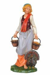 Picture of Shepherdess with Turkey cm 30 (12 Inch) CLASSIC Fontanini Nativity Statue Traditional Colors Plastic