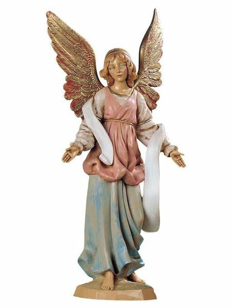 Imagen de Ángel de pie cm 30 (12 Inch) Belén Fontanini Estatua en Plástico pintada a mano