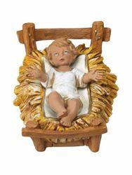 Picture of Baby Jesus and Cradle cm 30 (12 Inch) Fontanini Nativity Statue hand painted Plastic
