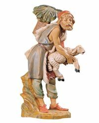 Picture of Shepherd with Basket cm 30 (12 Inch) Fontanini Nativity Statue hand painted Plastic