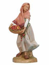 Imagen de Pastora con Fruta cm 30 (12 Inch) Belén Fontanini Estatua en Plástico pintada a mano