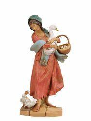 Imagen de Pastora con Gansos cm 30 (12 Inch) Belén Fontanini Estatua en Plástico pintada a mano