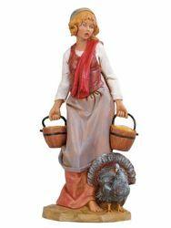 Imagen de Pastora con Pavo cm 30 (12 Inch) Belén Fontanini Estatua en Plástico pintada a mano