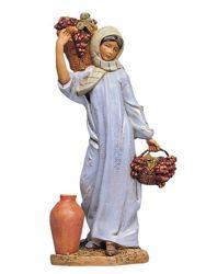 Imagen de Pastora con Uvas cm 30 (12 Inch) Belén Fontanini Estatua en Plástico pintada a mano