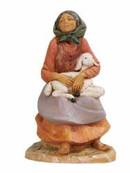 Picture of Sitting Shepherdess with Sheep cm 30 (12 Inch) Fontanini Nativity Statue hand painted Plastic