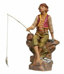 Picture of Sitting Fisherman cm 30 (12 Inch) Fontanini Nativity Statue hand painted Plastic