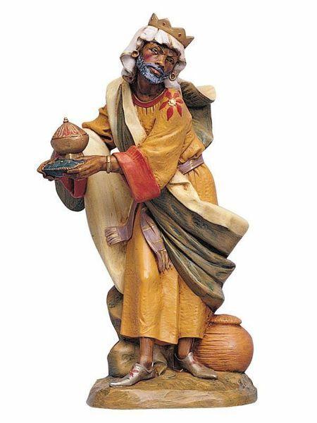 Immagine di Baldassarre Re Magio Moro a piedi cm 30 (12 Inch) Presepe Fontanini Statua in Plastica