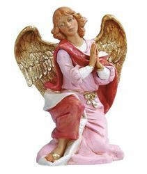 Imagen de Ángel arrodillado cm 45 (18 Inch) Belén Fontanini Estatua en Plástico pintada a mano