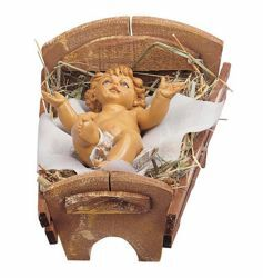 Picture of Baby Jesus and Cradle cm 45 (18 Inch) Fontanini Nativity Statue hand painted Plastic