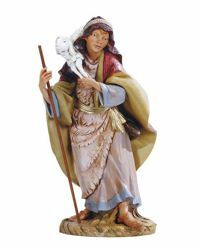 Imagen de Pastor con Oveja cm 45 (18 Inch) Belén Fontanini Estatua en Plástico pintada a mano