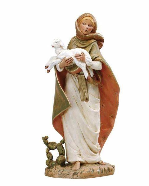 Immagine di Pastorella con Agnello e Cactus cm 45 (18 Inch) Presepe Fontanini Statua in Plastica dipinta a mano