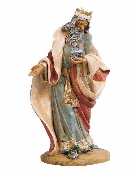 Imagen de Melchor Rey Mago Blanco de pie cm 45 (18 Inch) Belén Fontanini Estatua en Plástico