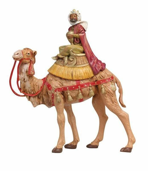 Picture of Wise King Balthazar on Camel cm 19 (7,5 Inch) Fontanini Nativity Figurine hand painted Plastic