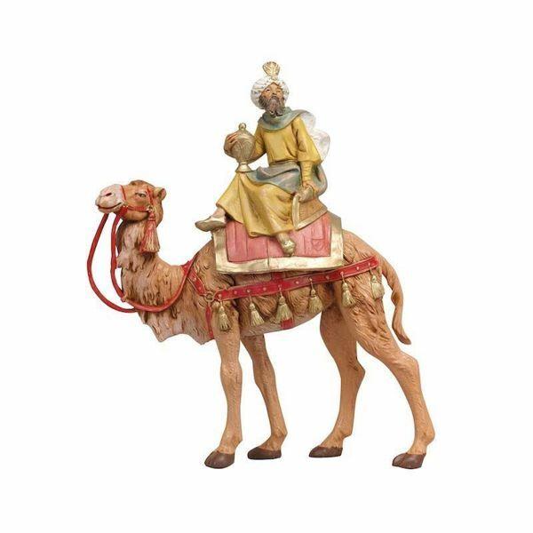 Immagine di Gaspare Re Magio Mulatto su cammello cm 19 (7,5 Inch) Presepe Fontanini Statuina in Plastica