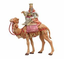 Picture of Wise King Melchior on Camel cm 19 (7,5 Inch) Fontanini Nativity Figurine hand painted Plastic