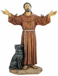 Picture of St. Francis of Assisi cm 100 (40 Inch) hand painted Resin Fontanini Statue for Outdoor Use