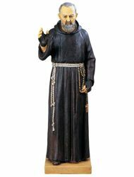 Picture of St. Padre Pio of Pietrelcina cm 95 (37,40 Inch) hand painted Resin Fontanini Statue for Outdoor Use