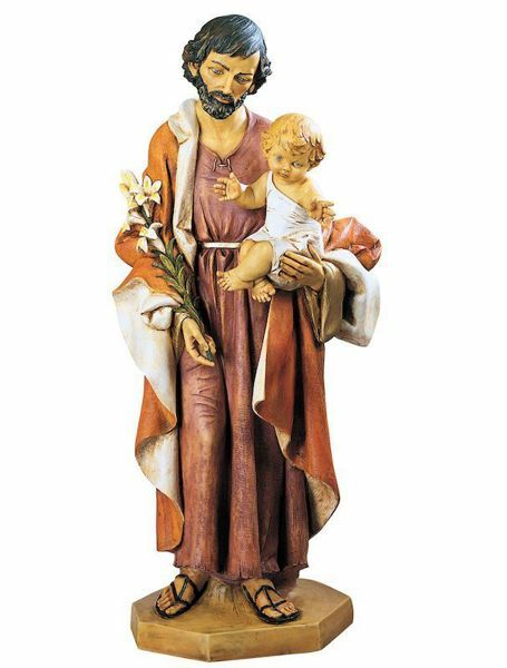 Picture of Saint Joseph with Child cm 104 (41 Inch) hand painted Resin Fontanini Statue for Outdoor Use