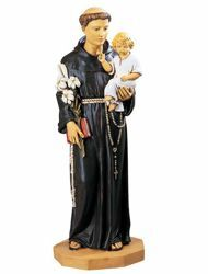Picture of St. Anthony of Padua with Child cm 104 (41 Inch) hand painted Resin Fontanini Statue for Outdoor Use