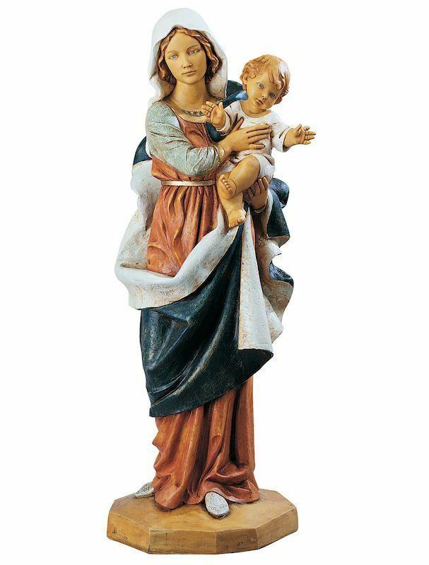 madonna con bambino cm 110 44 inch statua fontanini in resina per esterno dipinta a mano. Black Bedroom Furniture Sets. Home Design Ideas