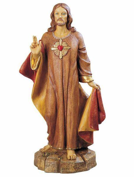 Imagen de Sagrado Corazón de Jesús cm 110 (44 Inch) Estatua Fontanini en Resina pintada a mano para uso al aire libre