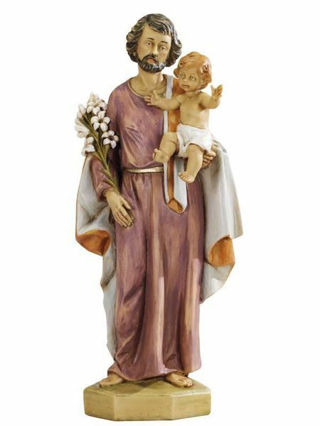 Picture of Saint Joseph with Child cm 50 (20 Inch) hand painted Resin Fontanini Statue for Outdoor Use
