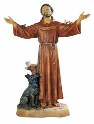 Picture of St. Francis of Assisi cm 51 (20 Inch) hand painted Resin Fontanini Statue for Outdoor Use