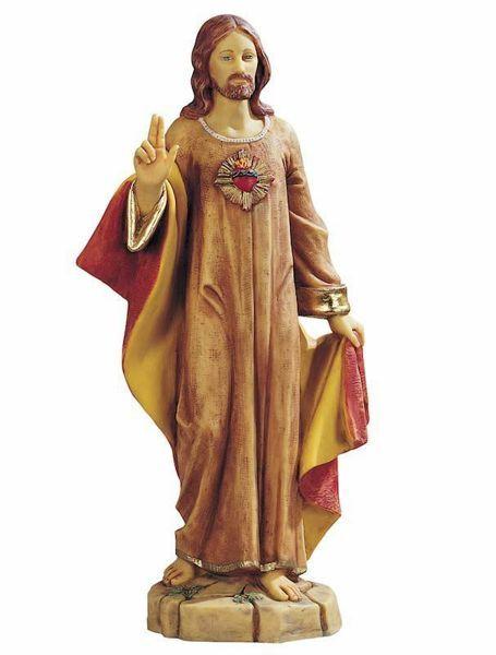 Imagen de Sagrado Corazón de Jesús cm 52 (20 Inch) Estatua Fontanini en Resina pintada a mano para uso al aire libre