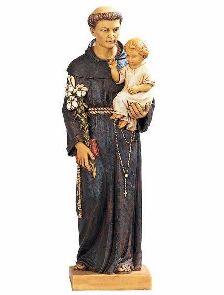 Immagine di Sant'Antonio da Padova con Bambino cm 52 (20 Inch) Statua Fontanini in Resina per esterno dipinta a mano
