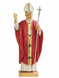 Immagine di Papa Giovanni Paolo II cm 56 (22 Inch) Statua Fontanini in Resina per esterno Veste rossa dipinta a mano