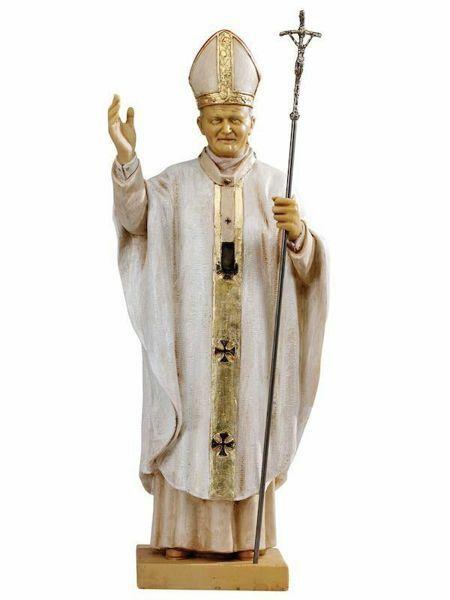 Immagine di Papa Giovanni Paolo II cm 56 (22 Inch) Statua Fontanini in Resina per esterno Veste bianca dipinta a mano