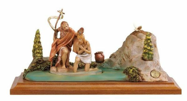 Picture of Baptism of Jesus cm 12 (5 Inch) Life of Christ Scene Fontanini Nativity Statue hand painted in Plastic (PVC)
